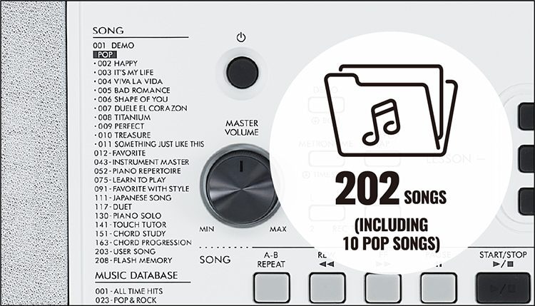 202 built-in Songs, including 10 pop songs, plus add-on song capability