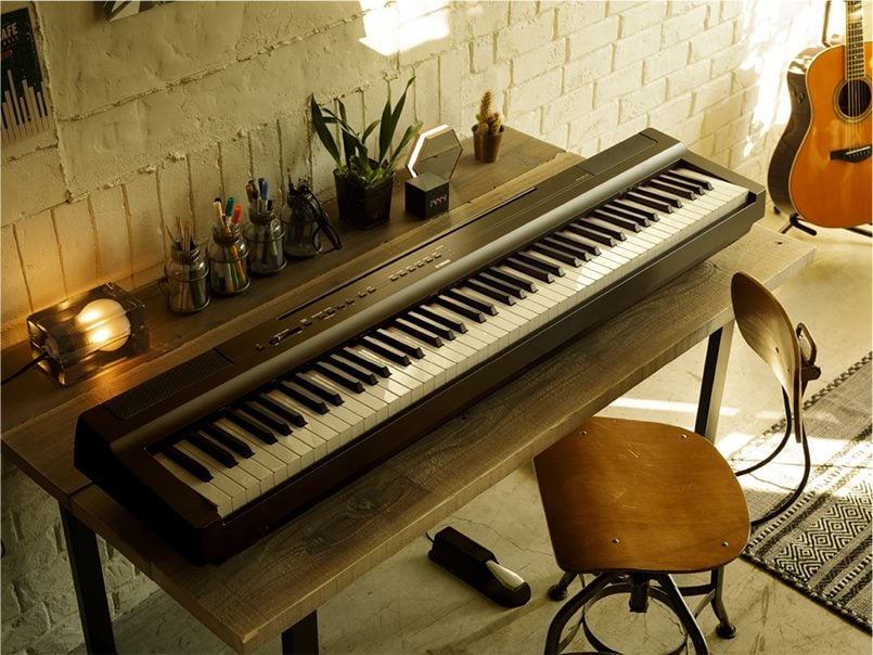 The Yamaha P-125 Digital piano sounds great even on a table