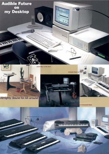 photo:Images from the Yamaha digital instrument catalog. From the top, the 1994, 1993, and 1992 editions